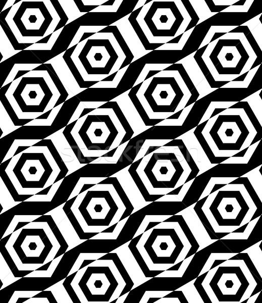 Black and white alternating rectangles cut through hexagons diag Stock photo © Zebra-Finch