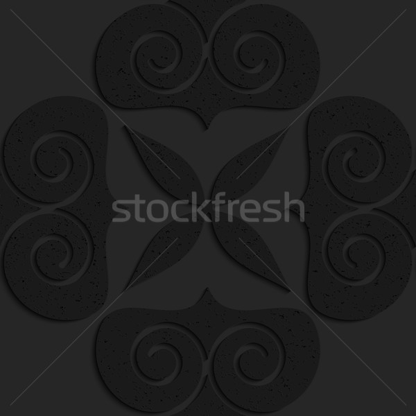 Black textured plastic big solid swirly hearts Stock photo © Zebra-Finch