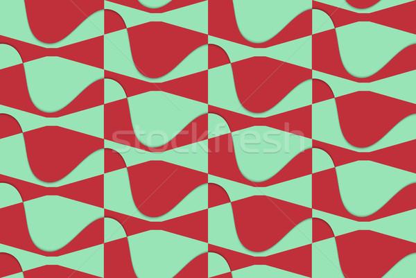 レトロな 3D 赤 緑 波状の 抽象的な ストックフォト © Zebra-Finch