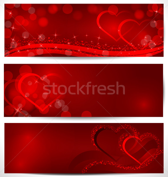 Pezsgő szívek bannerek vektor piros bokeh Stock fotó © Zebra-Finch