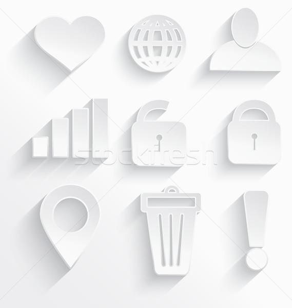 Fehér internetes ikonok szív 3D műanyag valósághű Stock fotó © Zebra-Finch