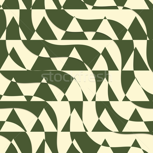 Retro 3D green and yellow cut out waves with triangles Stock photo © Zebra-Finch
