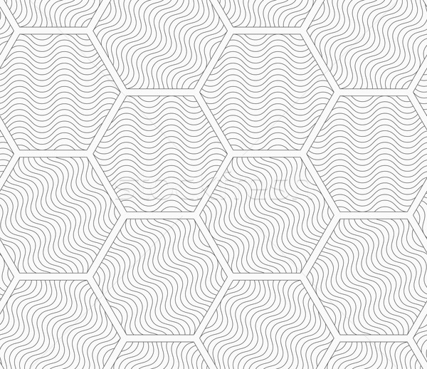 Shades of gray wavy striped hexagons Stock photo © Zebra-Finch