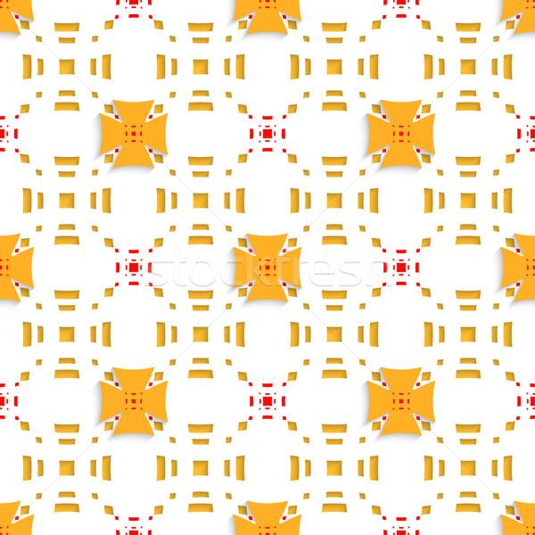 Orange crosses on top perforated rectangles seamless Stock photo © Zebra-Finch