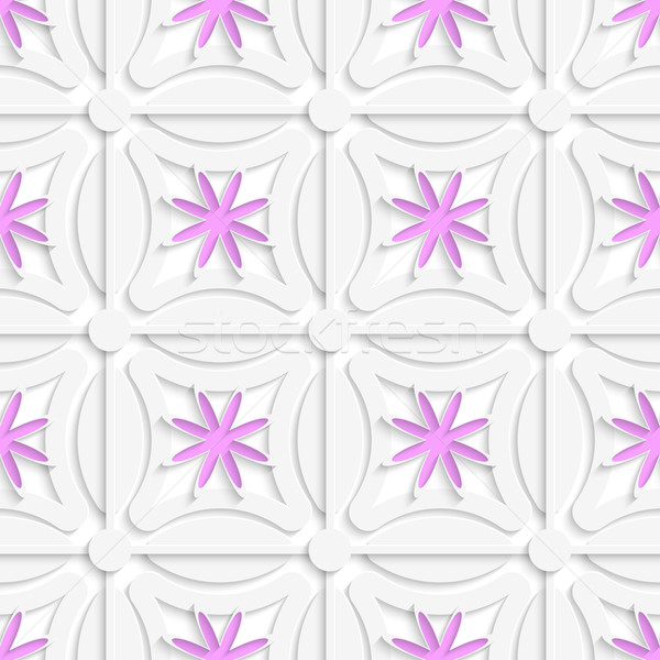 White net and pink flowers cut out o paper Stock photo © Zebra-Finch