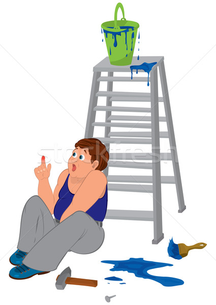 Cartoon man in blue sleeveless top with injured finger sitting n Stock photo © Zebra-Finch