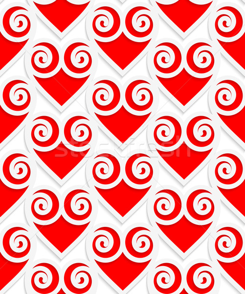 Stock photo: Colored 3D red swirly hearts