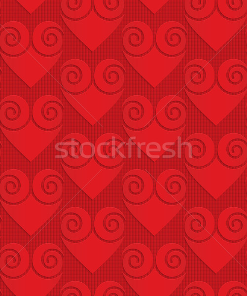 Red solid swirly hearts on checkered background Stock photo © Zebra-Finch