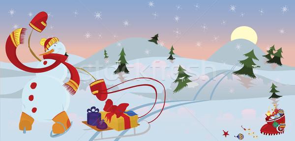 Snow man in red scarf banner Stock photo © Zebra-Finch