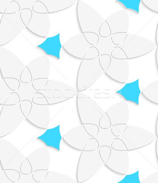 White floristic swirl with blue pattern seamless pattern Stock photo © Zebra-Finch