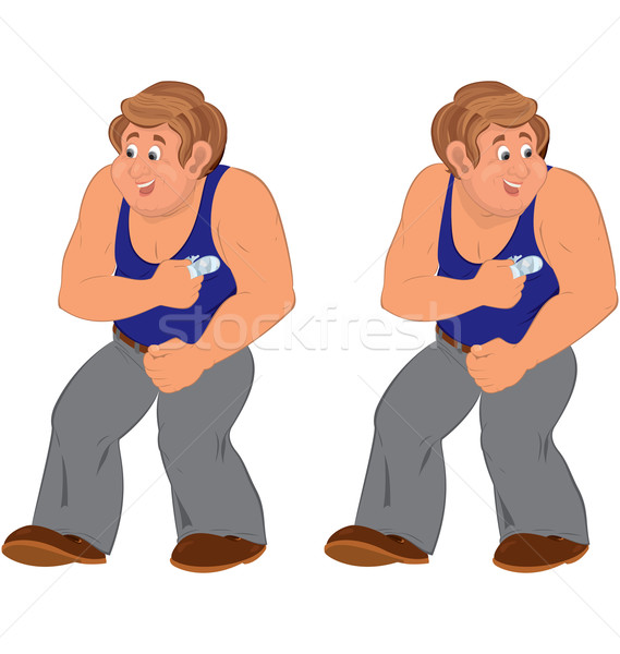 Happy cartoon man standing in blue sleeveless top injured Stock photo © Zebra-Finch