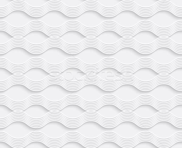 Mértani dísz 3D hullámos vonalak fehér Stock fotó © Zebra-Finch