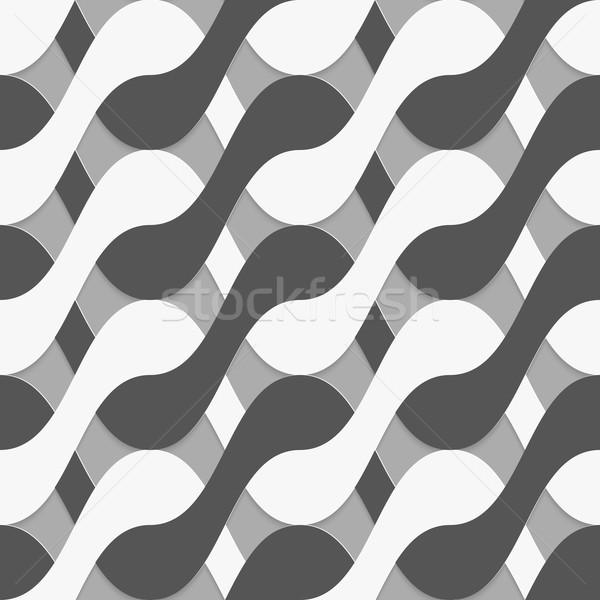 3D black and white interlocking waves Stock photo © Zebra-Finch
