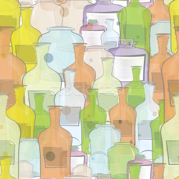 Water color bottles seamless vector Stock photo © Zebra-Finch