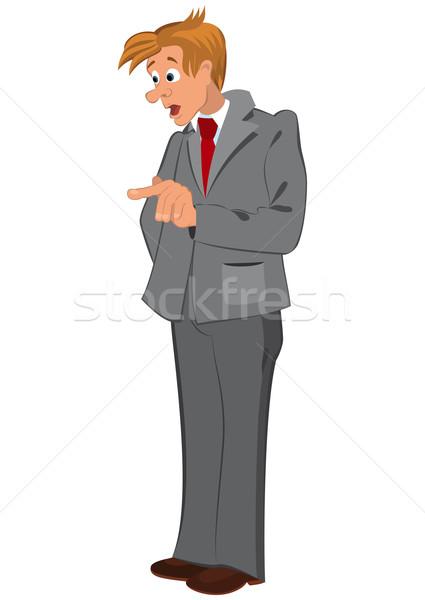 Rajz férfi szürke öltöny piros nyakkendő Stock fotó © Zebra-Finch