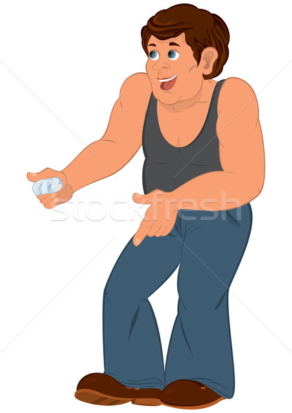 Cartoon man in gray sleeveless top with injured finger Stock photo © Zebra-Finch