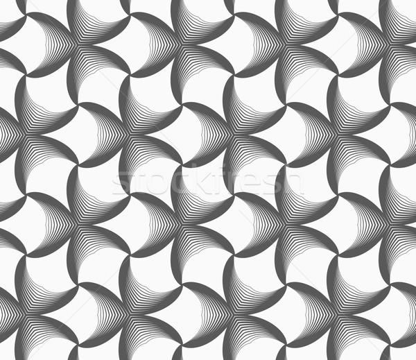 Monochromatyczny pasiasty czarny kwiaty bezszwowy geometryczny wzór Zdjęcia stock © Zebra-Finch