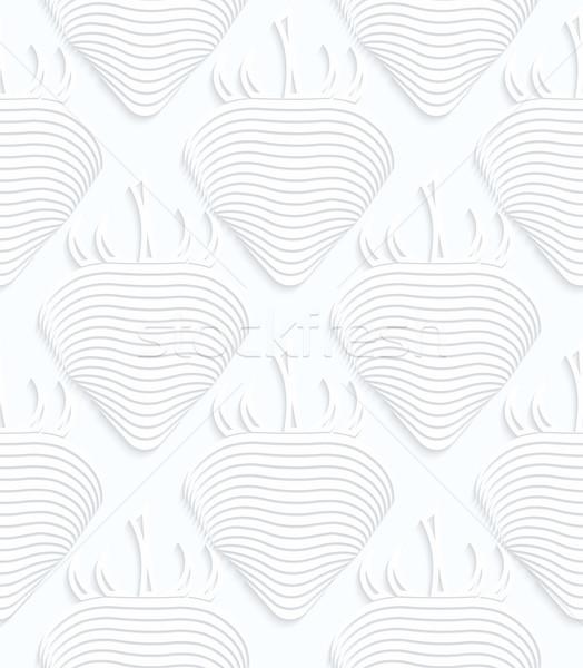 Fehér papír csíkos eprek mértani végtelen minta Stock fotó © Zebra-Finch