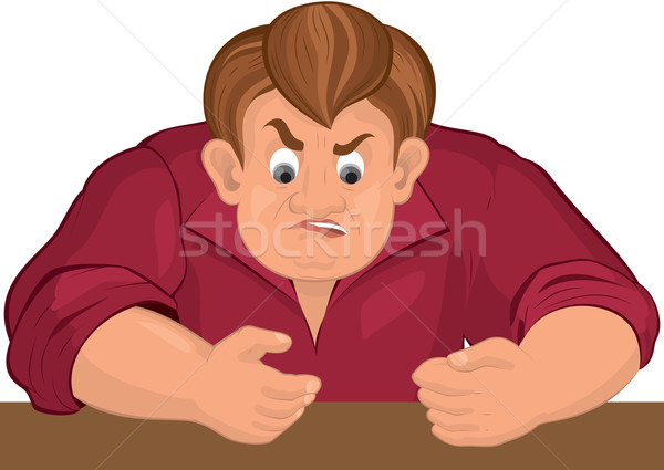 Cartoon angry man torso in red top Stock photo © Zebra-Finch
