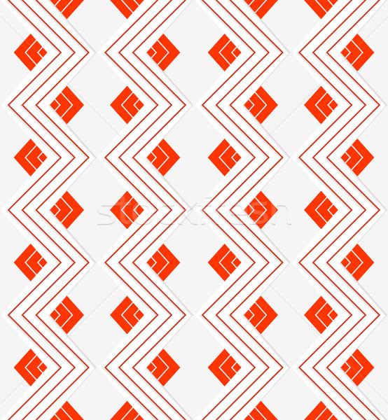 Witte zigzag Rood lijnen naadloos meetkundig Stockfoto © Zebra-Finch