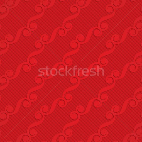 Rood diagonaal monogram meetkundig 3D Stockfoto © Zebra-Finch