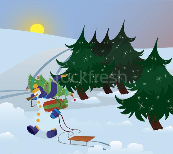 Hóember sétál erdő fa váll háttér Stock fotó © Zebra-Finch