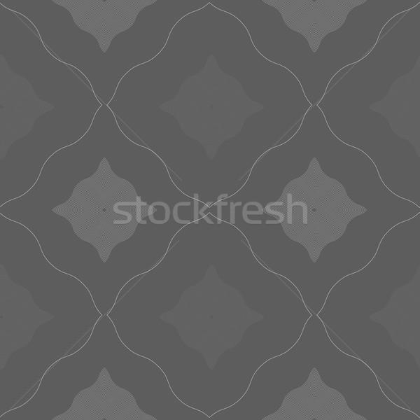Monochrome pattern with black and gray wavy guilloche squares Stock photo © Zebra-Finch