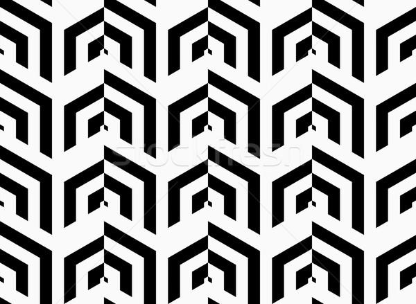 Siyah beyaz çizgili dikey şık geometrik Stok fotoğraf © Zebra-Finch