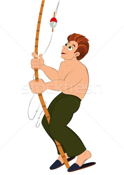 Cartoon homme vert pants canne à pêche illustration Photo stock © Zebra-Finch