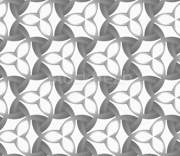 Tek renkli üç çiçekler karanlık geometrik desen Stok fotoğraf © Zebra-Finch