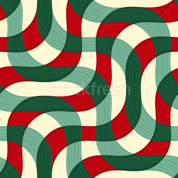 Retro 3D green red yellow overlapping waves with texture Stock photo © Zebra-Finch
