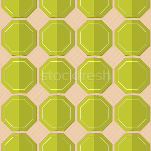 Retro fold green octagons Stock photo © Zebra-Finch