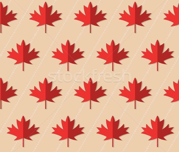 Retro fold red maple leaves on diagonal dots Stock photo © Zebra-Finch
