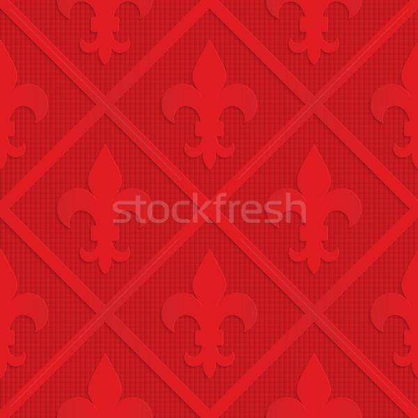 Red fleur de lis on checkered background Stock photo © Zebra-Finch