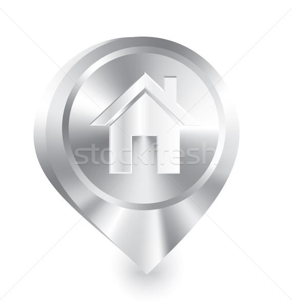 Otthon ikon fém csepp tő vektor Stock fotó © Zebra-Finch