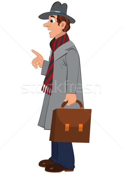 Karikatür adam gri şapka kat evrak çantası Stok fotoğraf © Zebra-Finch