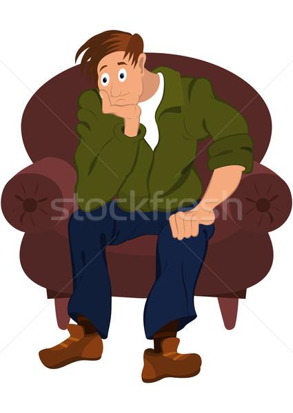 Karikatür adam yeşil ceket oturma koltuk Stok fotoğraf © Zebra-Finch