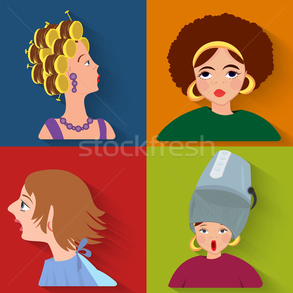 Flat people avatar beauty spa customers Stock photo © Zebra-Finch