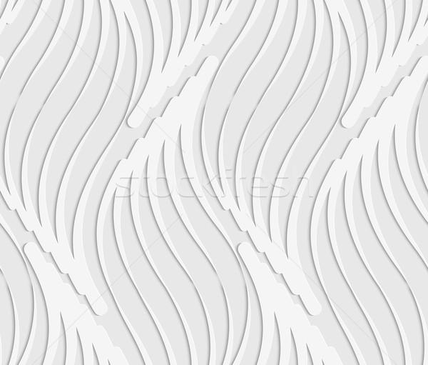 Papír kivágás absztrakt hullámos levelek fehér szürke Stock fotó © Zebra-Finch