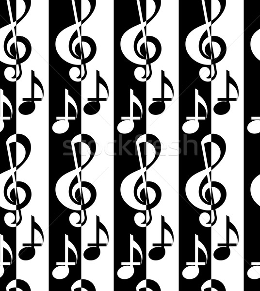 Black and white alternating G clef and music notes Stock photo © Zebra-Finch