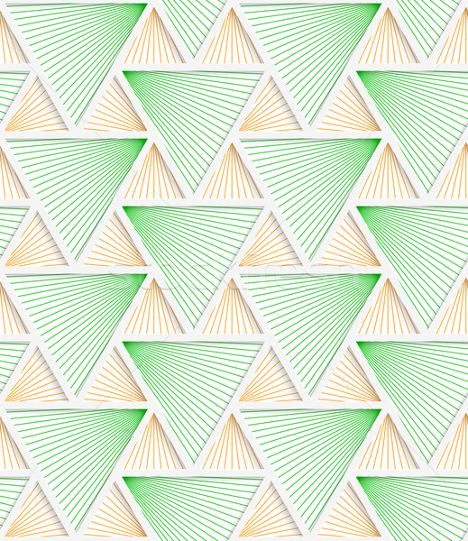 Colored 3D green and orange striped triangles with grid Stock photo © Zebra-Finch