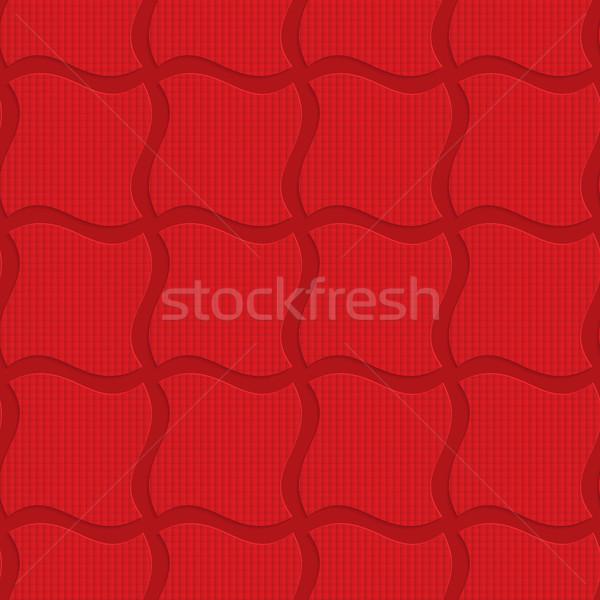 赤 波状の 正方形 幾何学的な 3D ストックフォト © Zebra-Finch