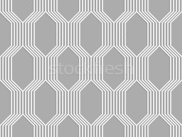 Stock photo: 3D white striped braid o gray