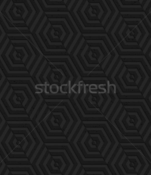 Stock photo: Textured black plastic diagonally cut hexagons
