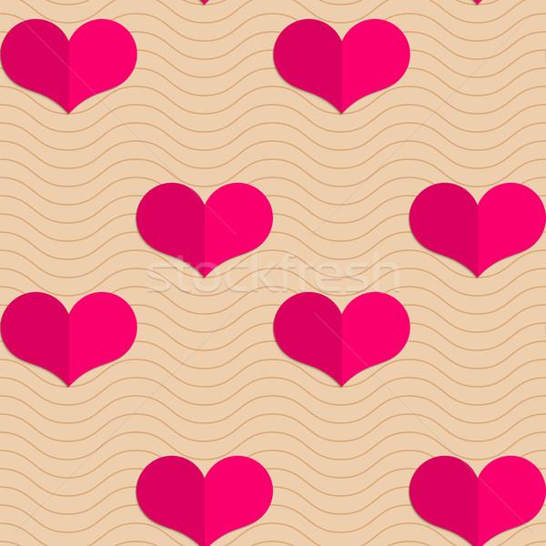 Retro pequeño rosa corazones olas geométrico Foto stock © Zebra-Finch