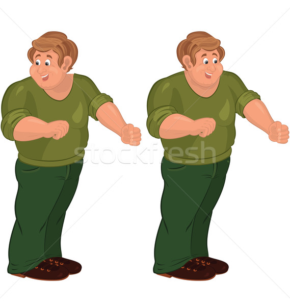 Happy cartoon man standing in green pants and brown shoes Stock photo © Zebra-Finch