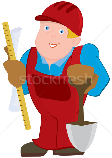 Cartoon man in red constrictor uniform and with spade Stock photo © Zebra-Finch
