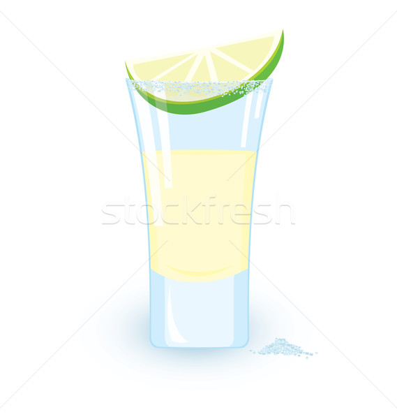 Stock photo: Tequila cocktail slice of lime and some salt