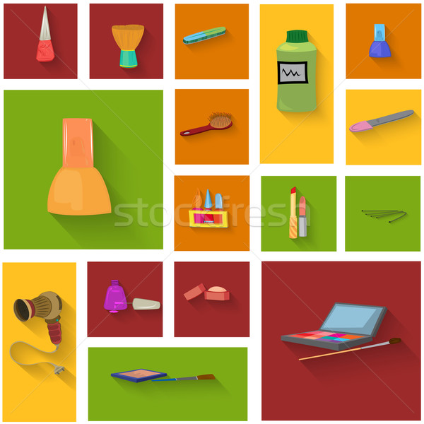 Beauty spa objects icon set flat design Stock photo © Zebra-Finch