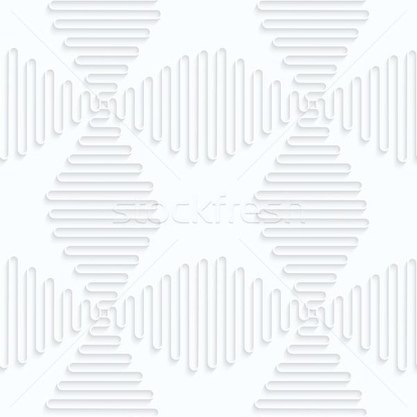 Papír hullámok keresztek végtelenített 3D fehér Stock fotó © Zebra-Finch